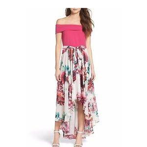Eliza J Crepe Chiffon Floral Dress Pink High-low